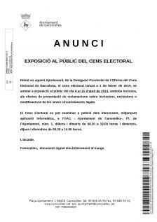 Anunci: exposició al públic del cens electoral